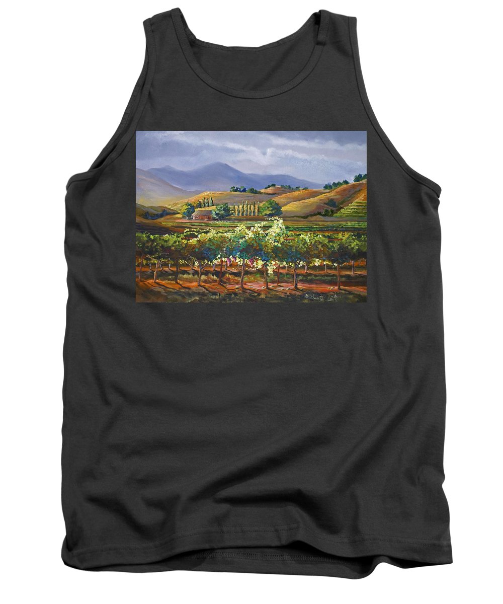 Vineyard Tank Top featuring the painting Vineyard In California by Heather Coen