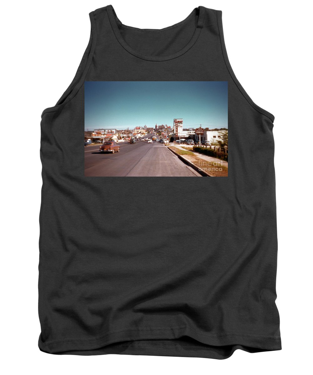 Vintage 1950s View Of Congress Avenue Looking North From South Congress To The Capitol Tank Top featuring the photograph Vintage 1950s View Of Congress Avenue Looking North From South Congress To The Capitol by Austin Welcome Center