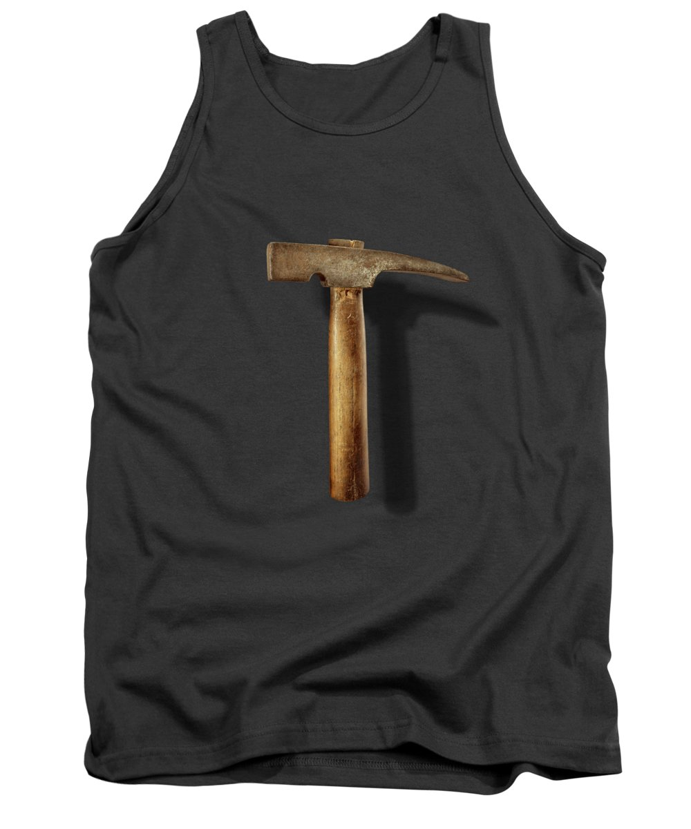 Hand Tool Tank Top featuring the photograph Vintage Masonry Hammer on Black by YoPedro