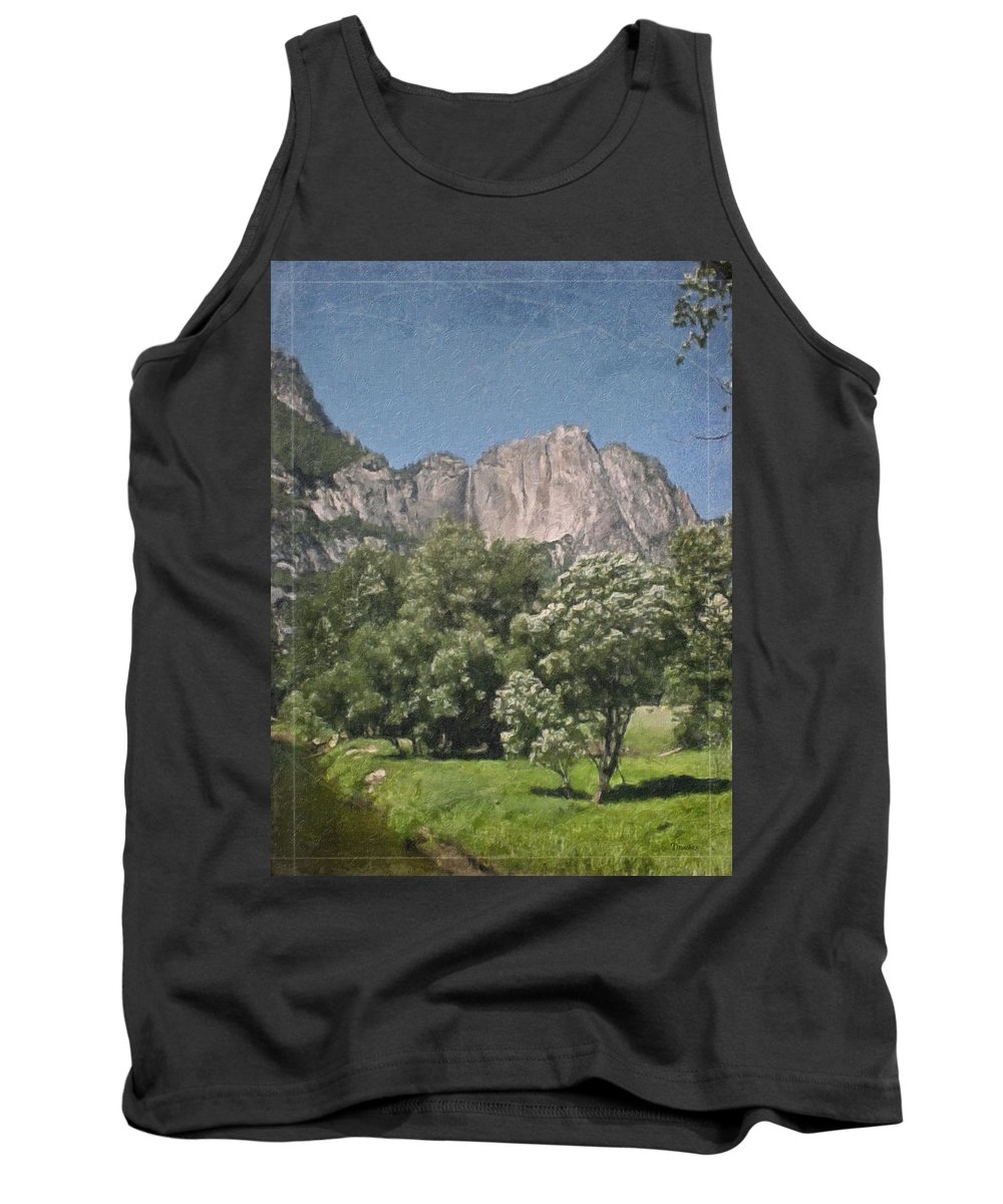 Landscape Tank Top featuring the painting Vintage Yosemite by Teresa Mucha