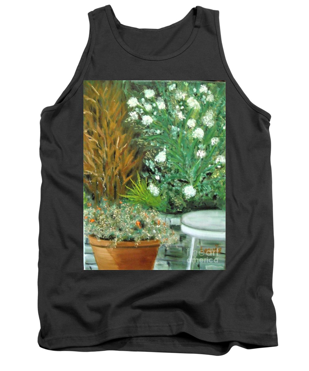 Plein Air Tank Top featuring the painting Virginia's Garden by Laurie Morgan