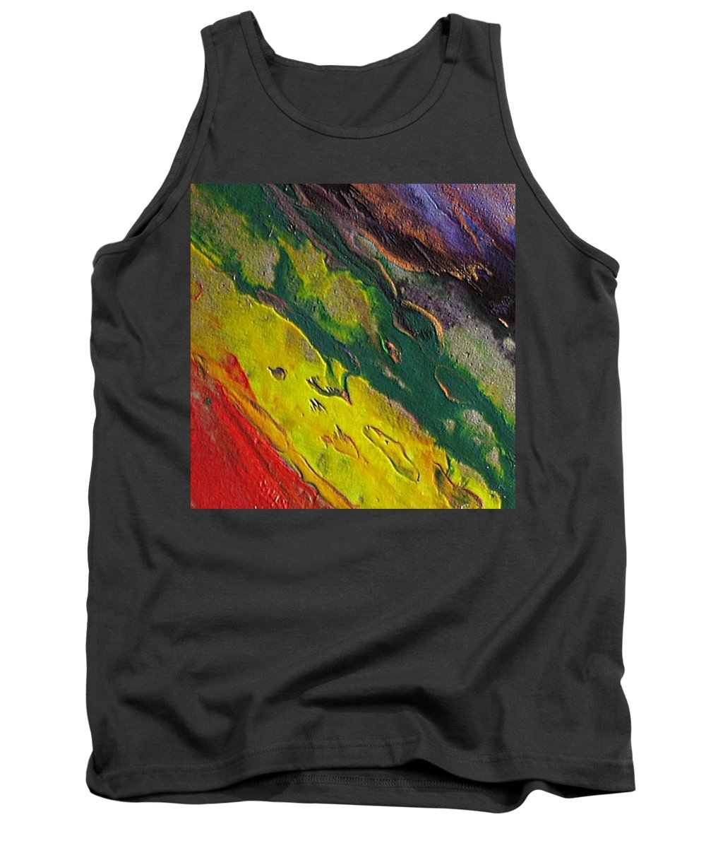 Abstract Encaustic Painting Tank Top featuring the painting W 048 by Dragica Micki Fortuna