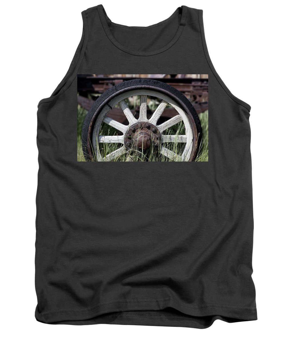 Old West Tank Top featuring the photograph Wagon Wheel by Kelley King