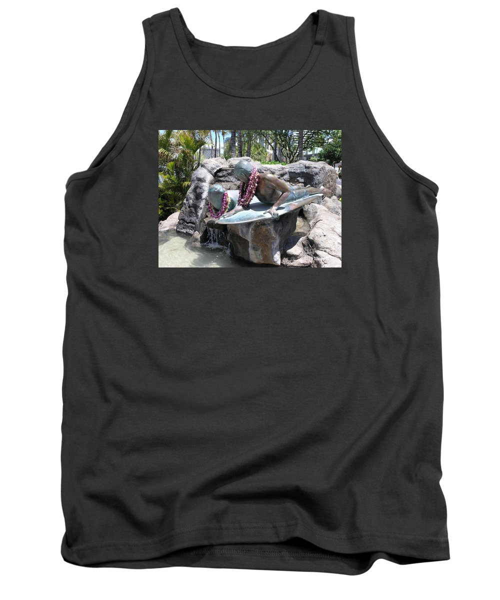 Statue Tank Top featuring the photograph Waikiki Statue - Surfer Boy And Seal by Mary Deal