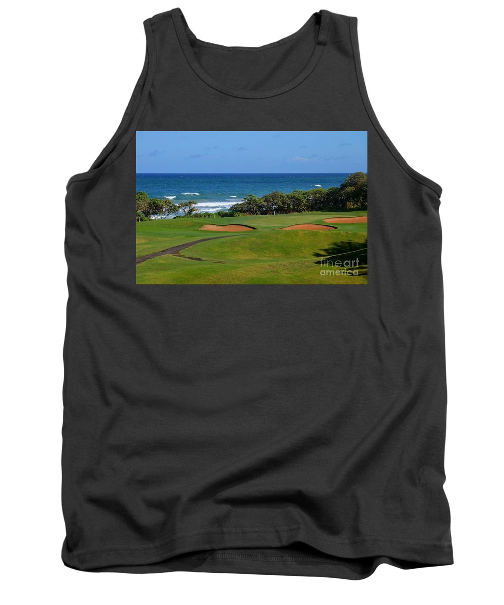 Golf Tank Top featuring the photograph Wailua Golf Course - Hole 17 - 1 by Mary Deal