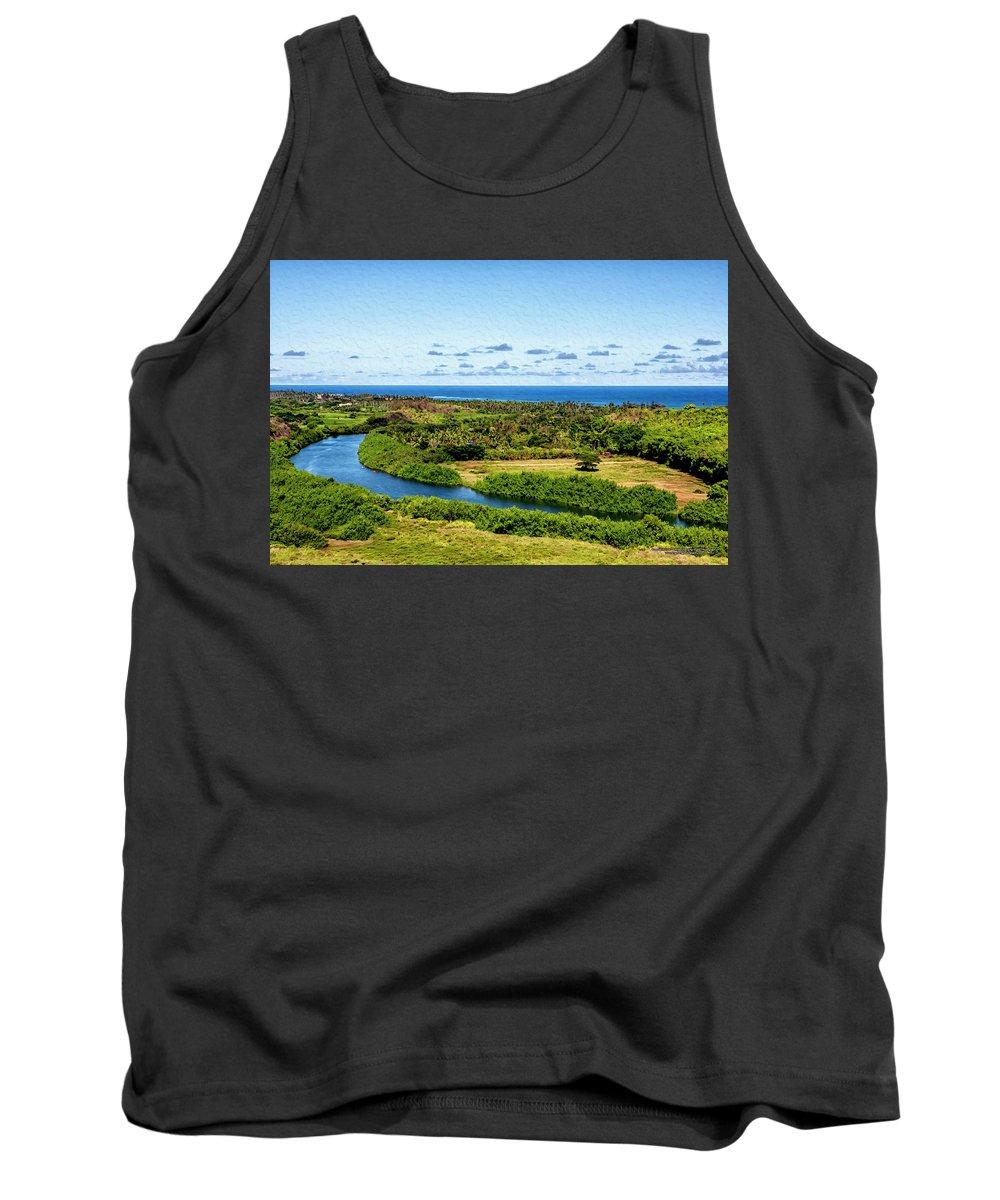Hawaii Tank Top featuring the digital art Wailua River by Christopher Eng-Wong