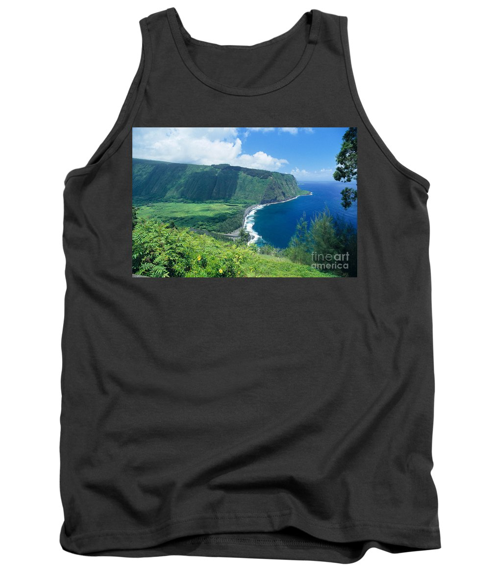 Aerial Tank Top featuring the photograph Waipio Valley Lookou by Greg Vaughn - Printscapes