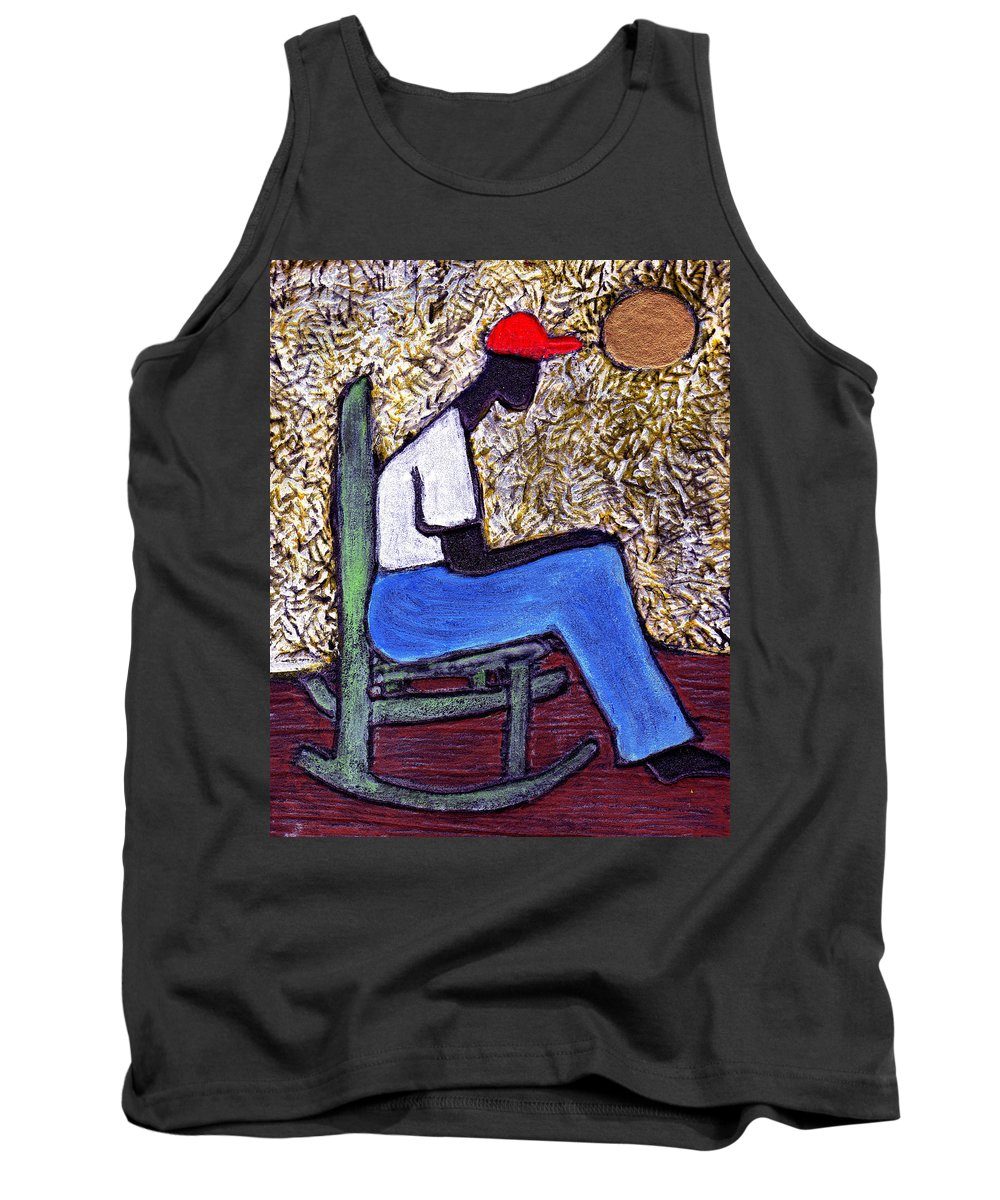 Black Art Tank Top featuring the painting Waiting For The Dream by Wayne Potrafka