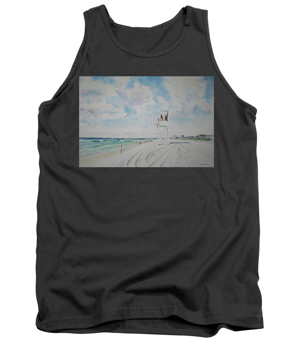 Ocean Tank Top featuring the painting Waiting For The Lifeguard by Tom Harris