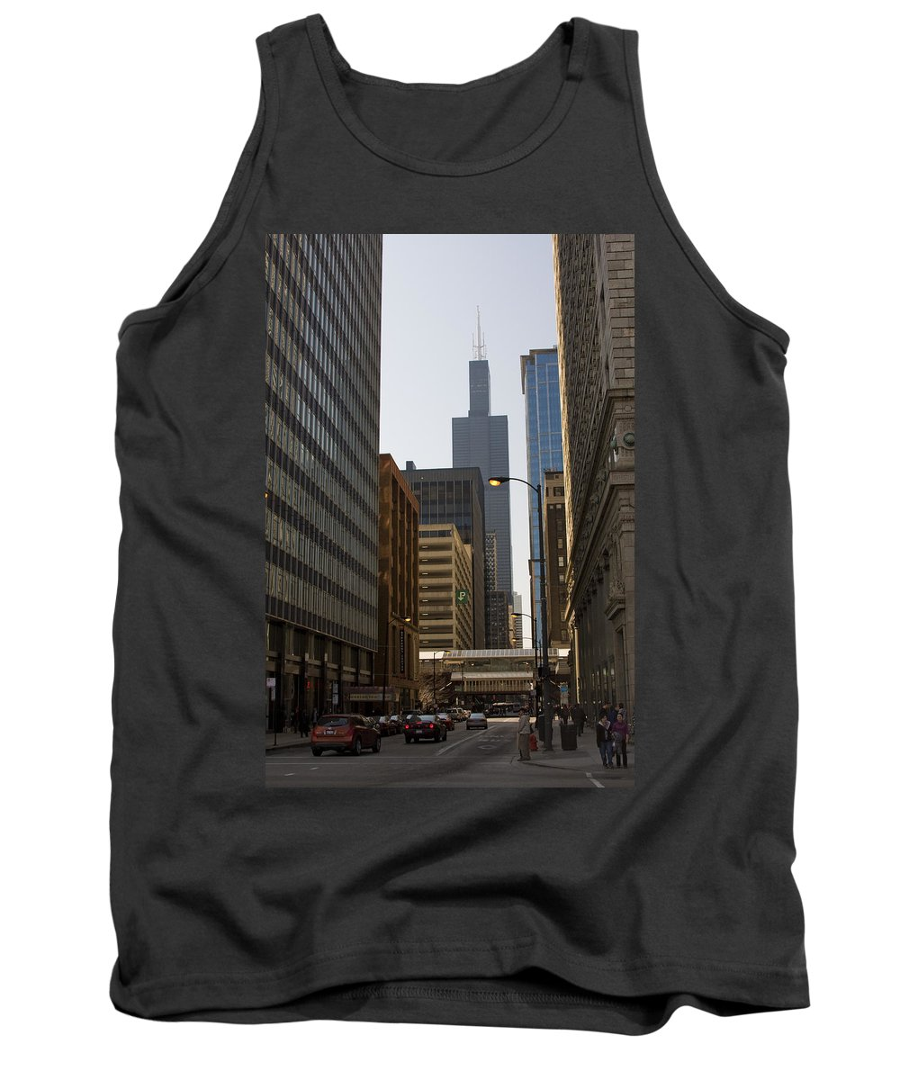 Chicago Windy City Street Trafic Car People Building Skyscraper High Tall Urban Metro Tank Top featuring the photograph Walking In Chicago by Andrei Shliakhau