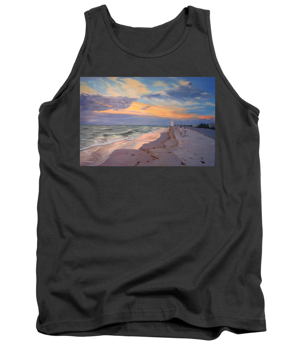 Seascape Tank Top featuring the painting Walking On The Beach At Sunset by Lea Novak