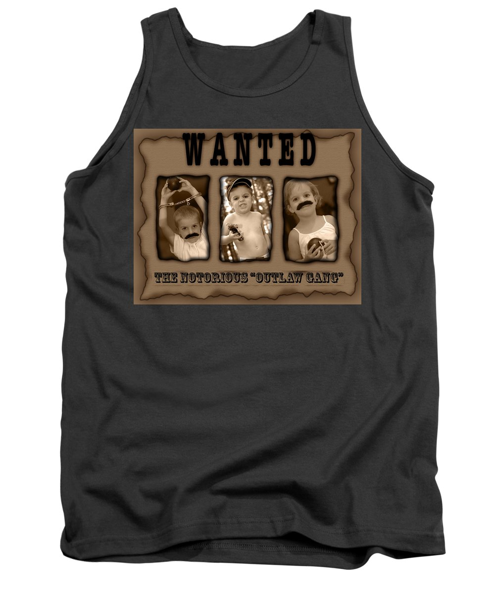 Wanted Tank Top featuring the photograph Wanted The Outlaw Gang by Jill Reger