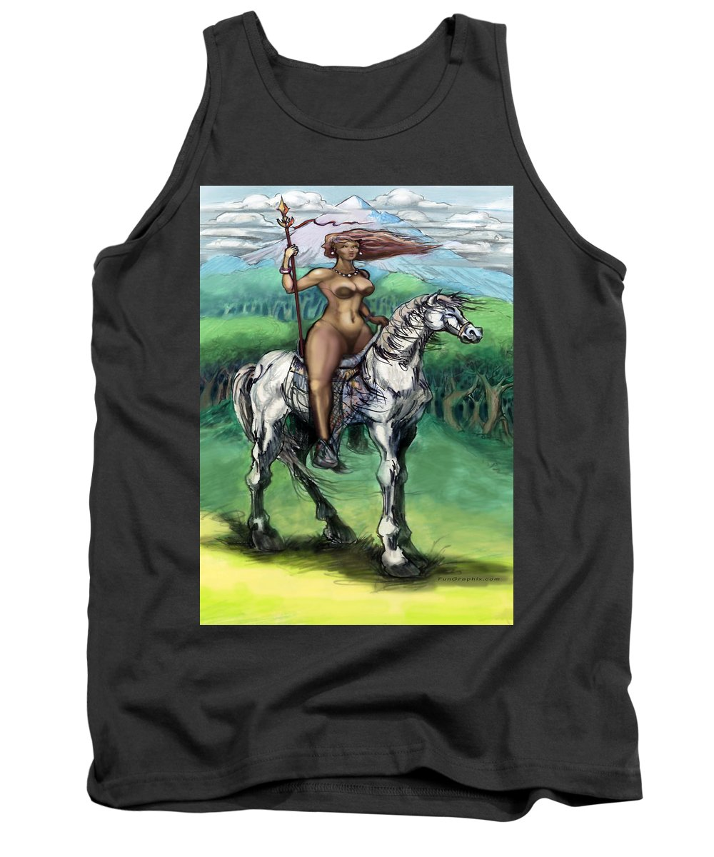 Warrior Tank Top featuring the painting Warrior Maiden by Kevin Middleton