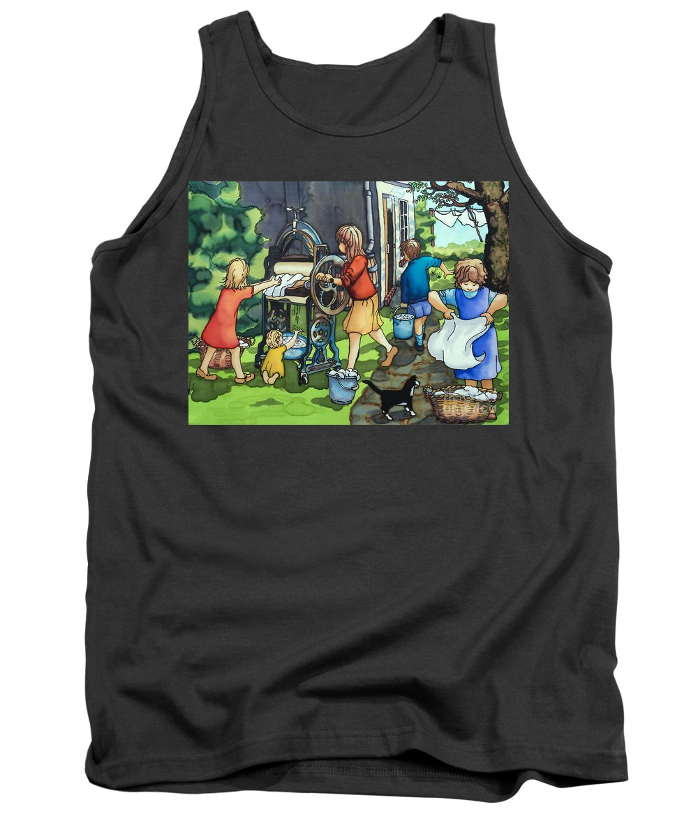 Children Tank Top featuring the painting Wash Day At Clay Street by Paula Chapman