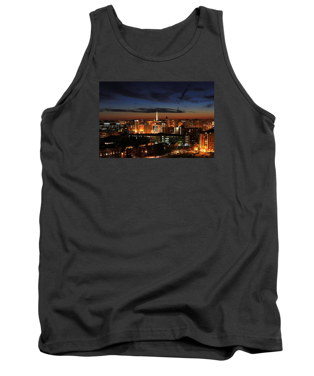 Washington Monument Tank Top featuring the photograph Washington Monument Night Sky by Steve Monell