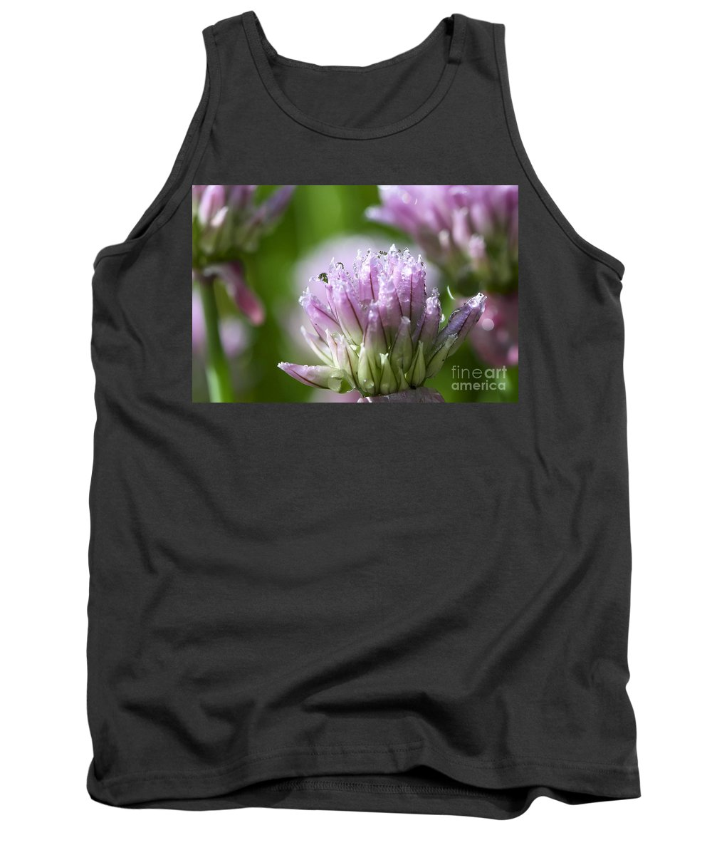 Allium Tank Top featuring the photograph Water Droplets On Chives Flowers by Teresa Zieba