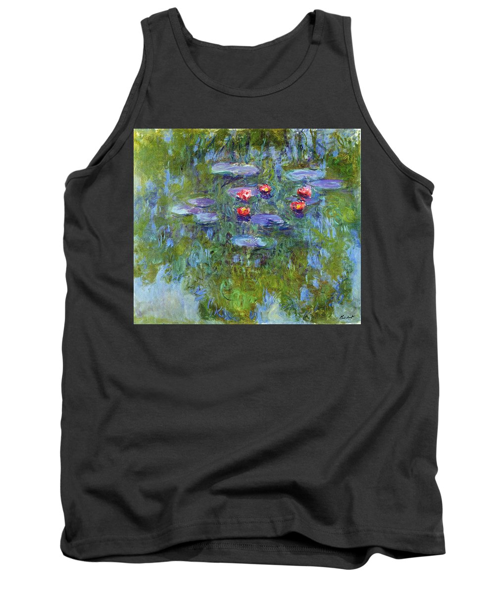 Blue Tank Top featuring the painting Water Lilies 1919 3 by Claude Monet