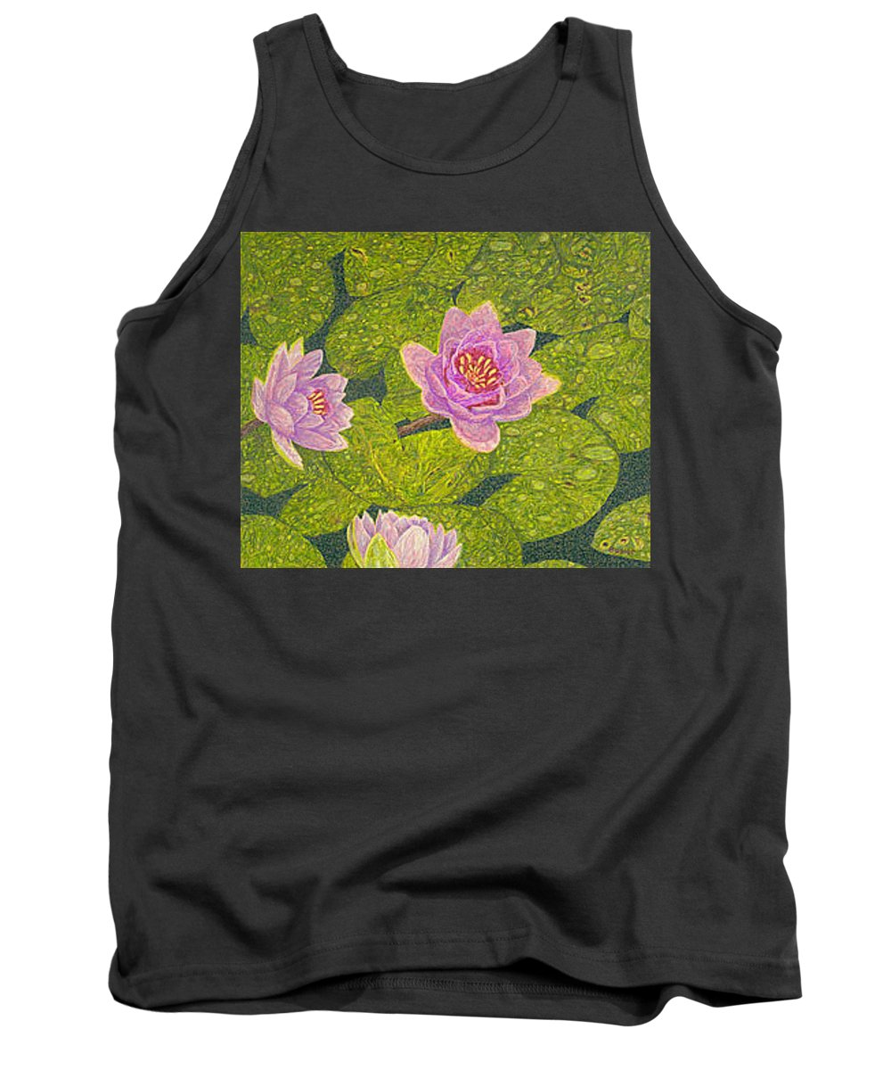 Water Lilies Tank Top featuring the drawing Water Lilies Lily Flowers Lotuses Fine Art Prints Contemporary Modern Art Garden Nature Botanical by Baslee Troutman