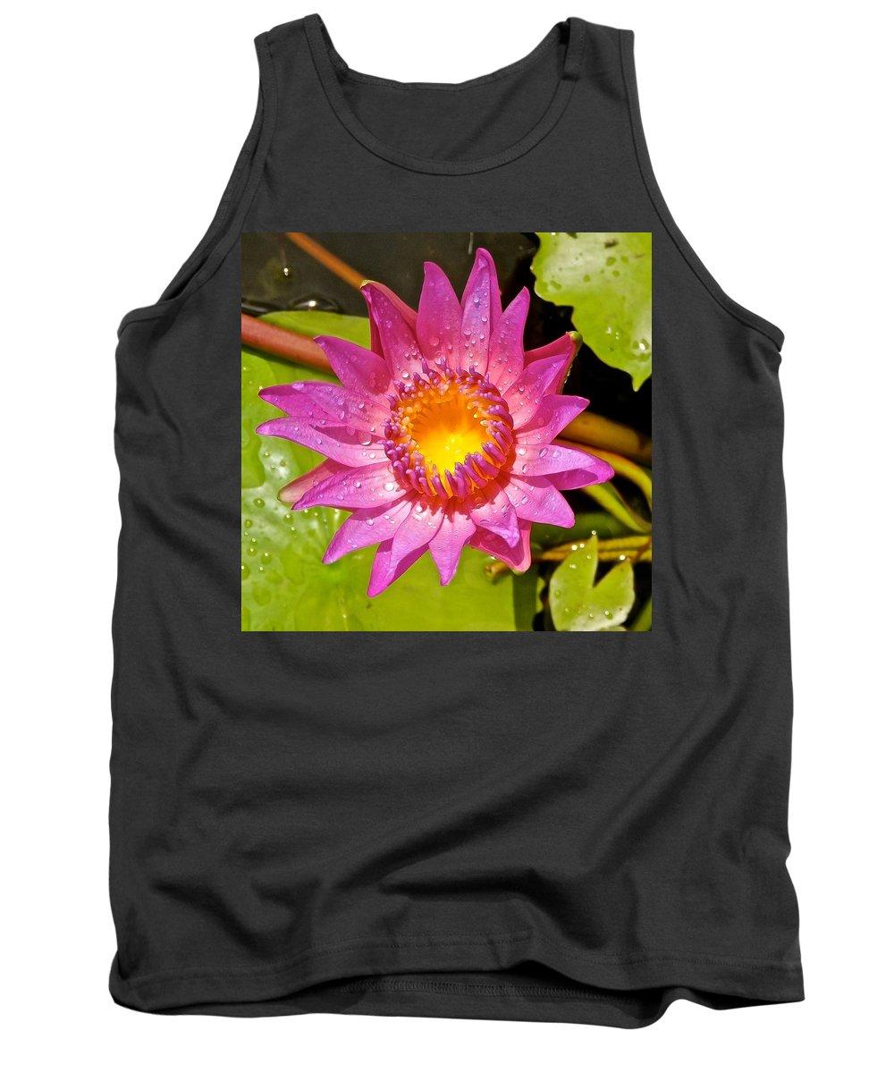 Lotus Tank Top featuring the photograph Water Lily After Rain 4 by Joe Wyman