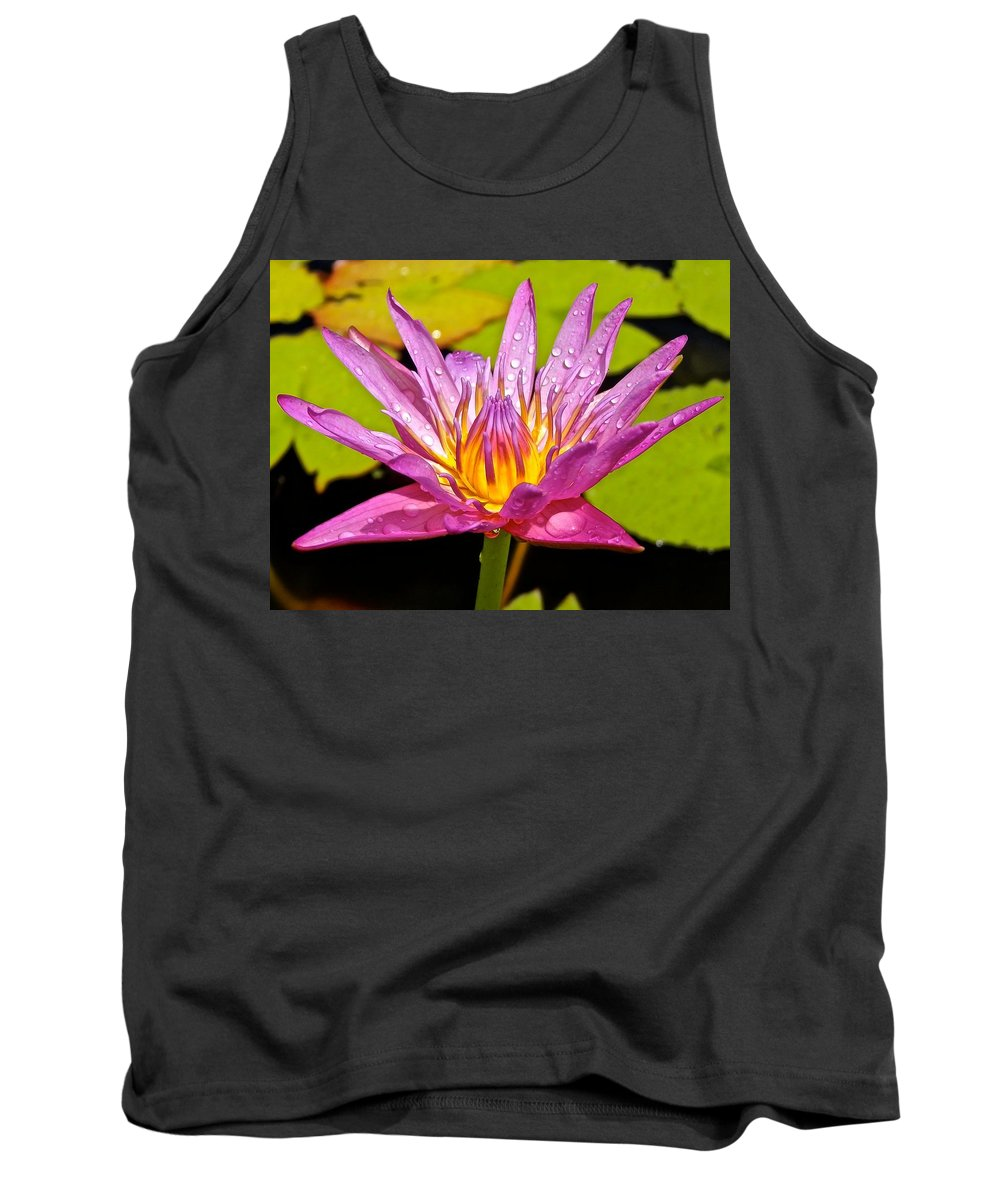 Lotus Tank Top featuring the photograph Water Lily After Rain by Joe Wyman