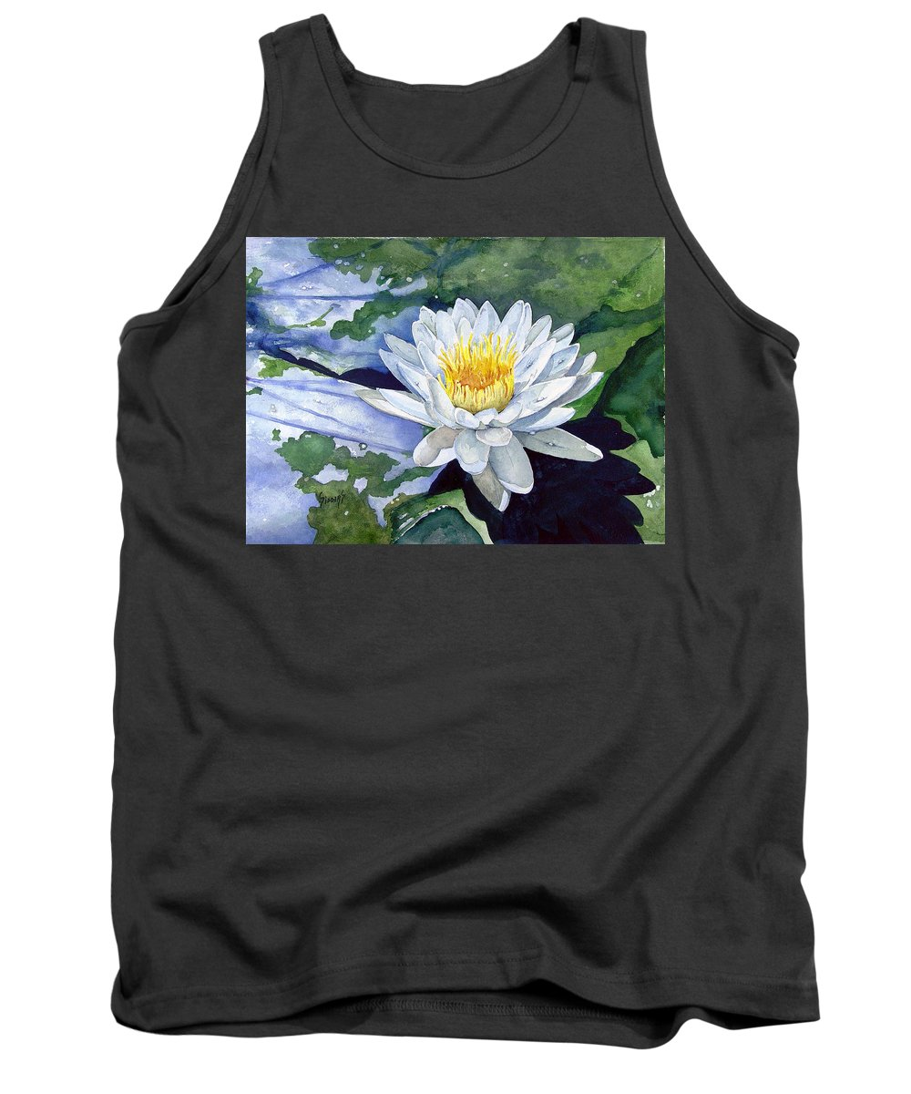 Flower Tank Top featuring the painting Water Lily by Sam Sidders