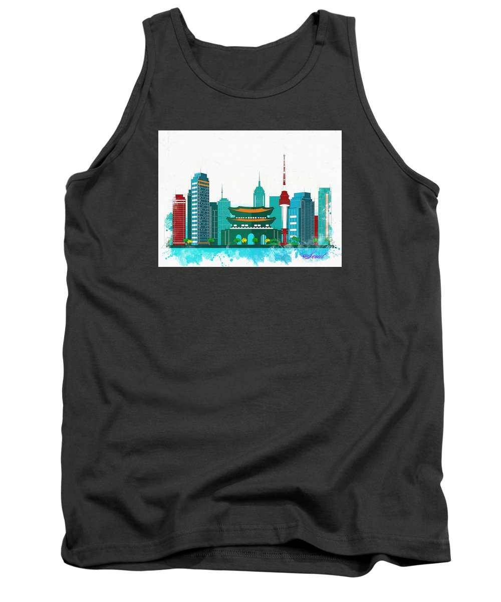 Poster Tank Top featuring the digital art Watercolor Illustration Of Seoul by Don Kuing