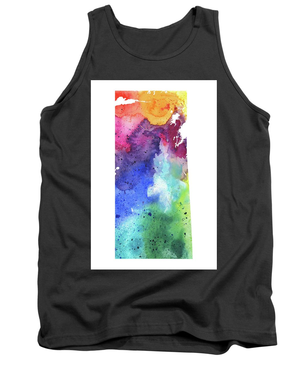Canada Tank Top featuring the painting Watercolor Map Of Saskatchewan, Canada In Rainbow Colors by Andrea Hill