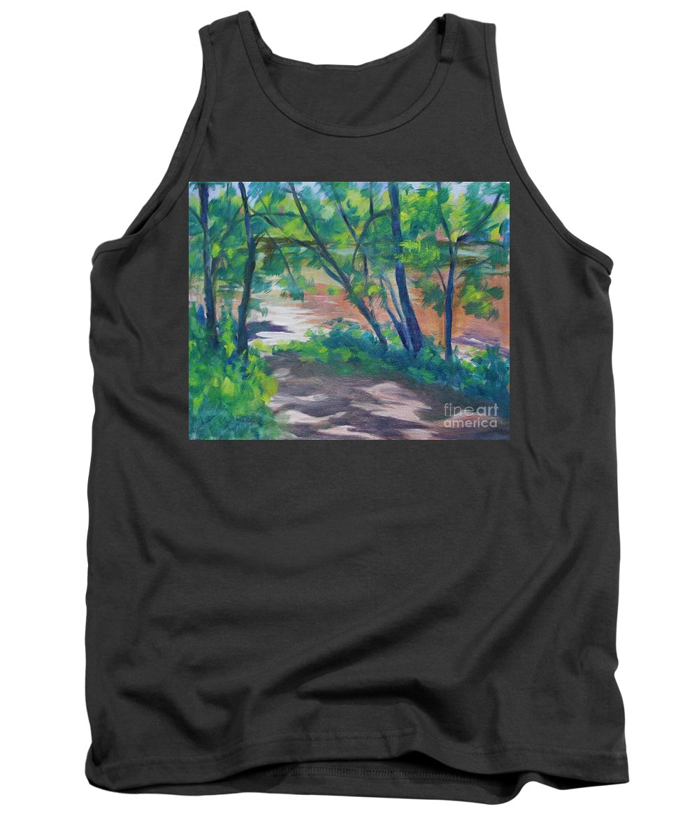 Landscape Tank Top featuring the painting Watercress Beach On The Current River  by Jan Bennicoff