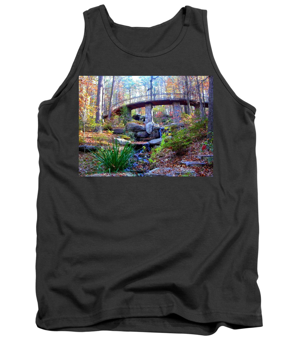 Waterfall Tank Top featuring the photograph Waterfall And A Bridge In The Fall by Anne Cameron Cutri