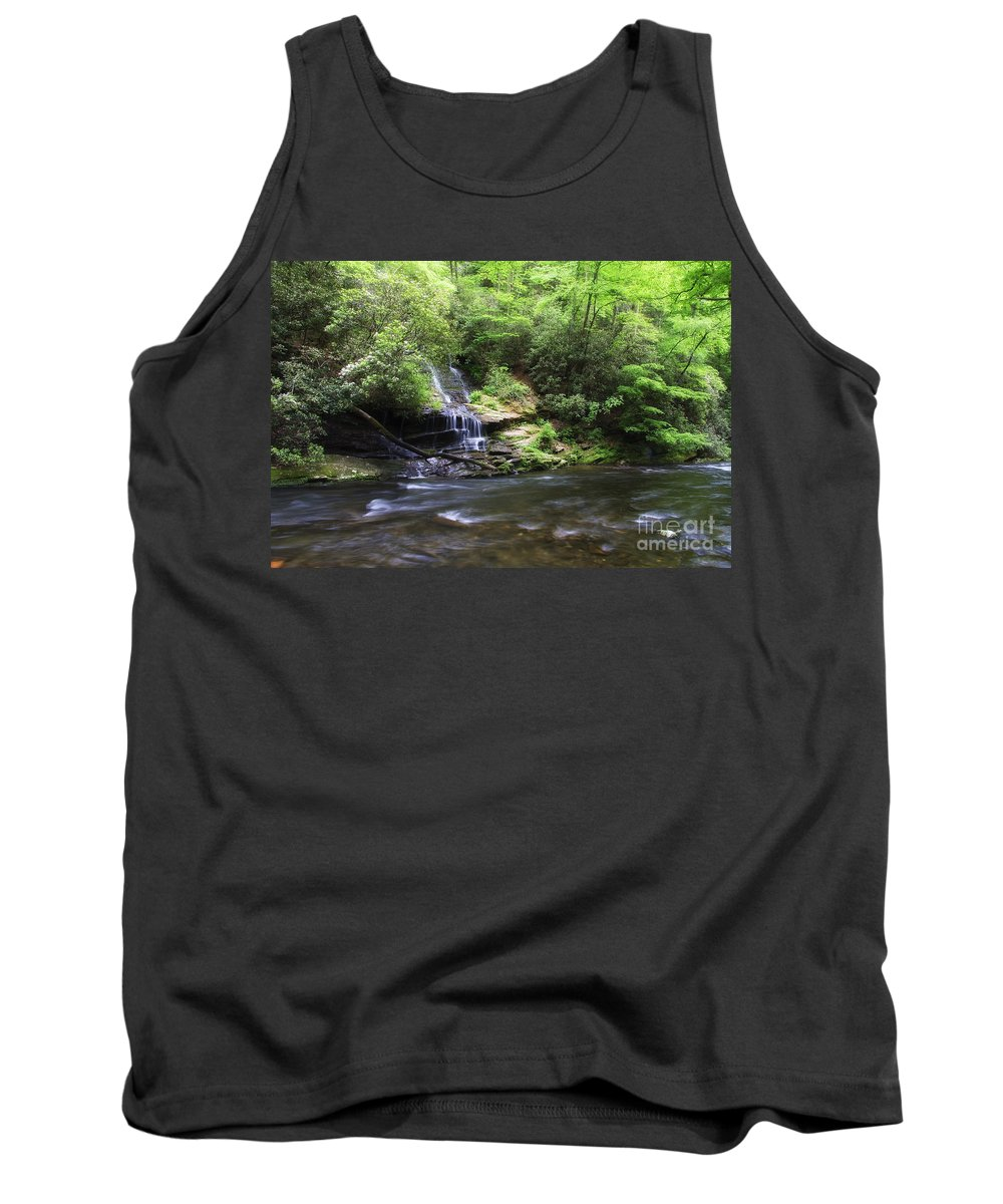 Tom Tank Top featuring the photograph Waterfall And Mountain Creek by Jill Lang