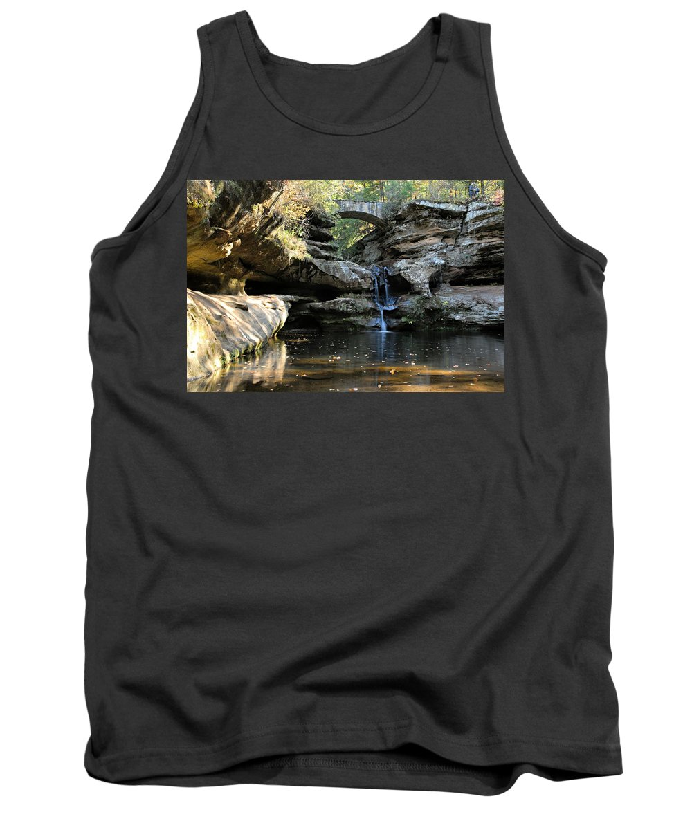 Old Man Cave State Park Tank Top featuring the photograph Waterfall At Old Man Cave by Larry Ricker