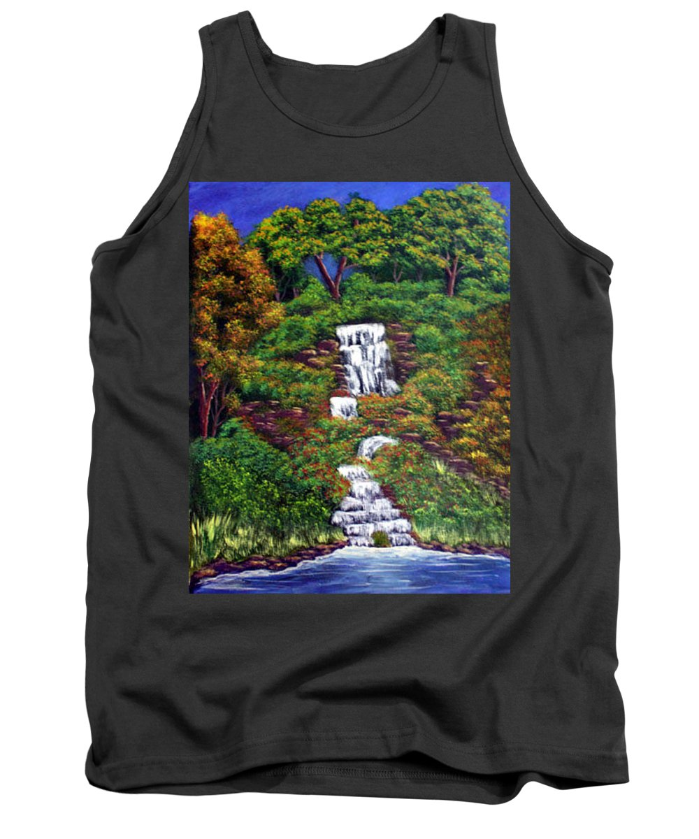 Waterfall Tank Top featuring the painting Waterfall by Dawn Blair