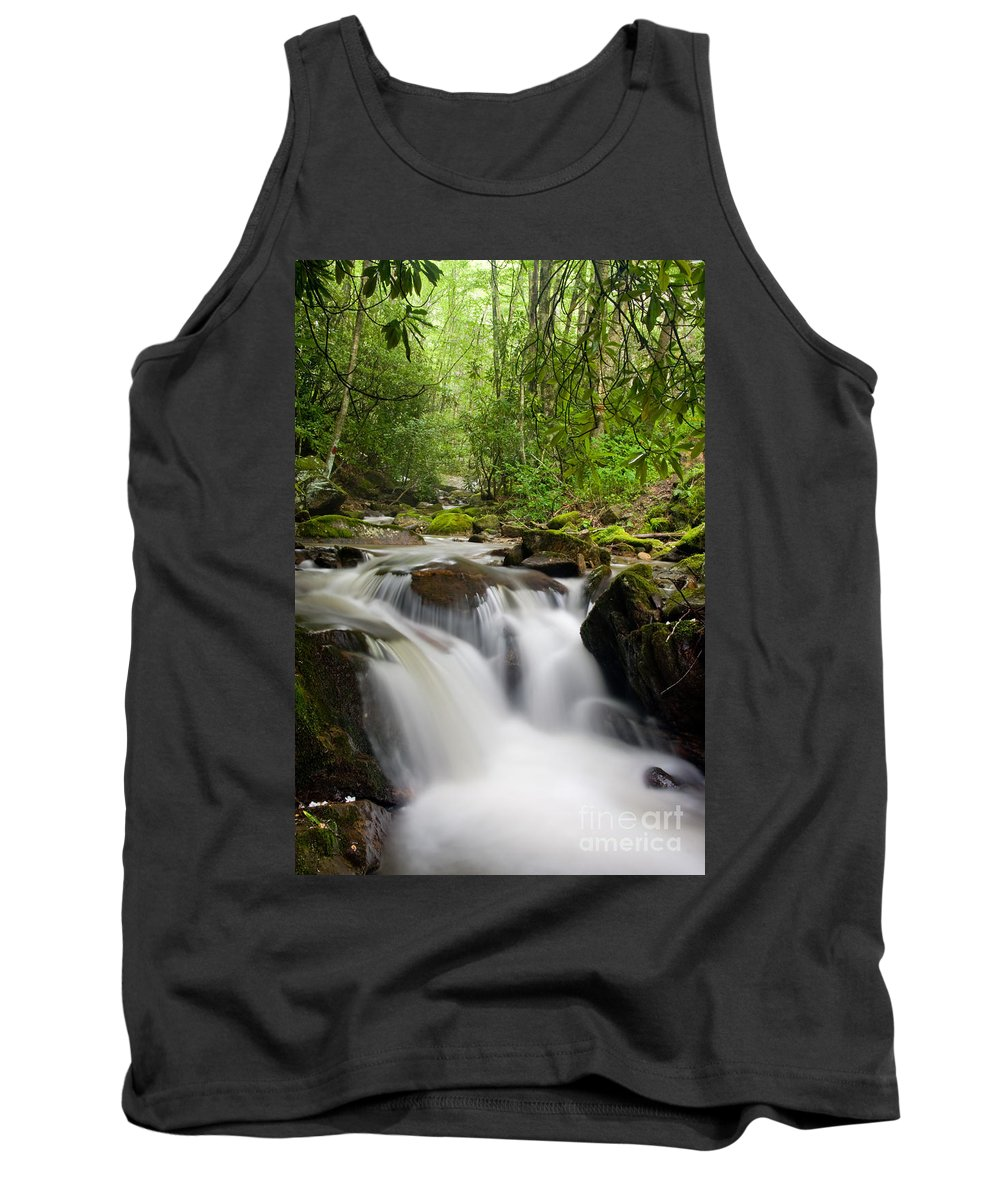 Falls Tank Top featuring the photograph Waterfall In The Forest by Jill Lang