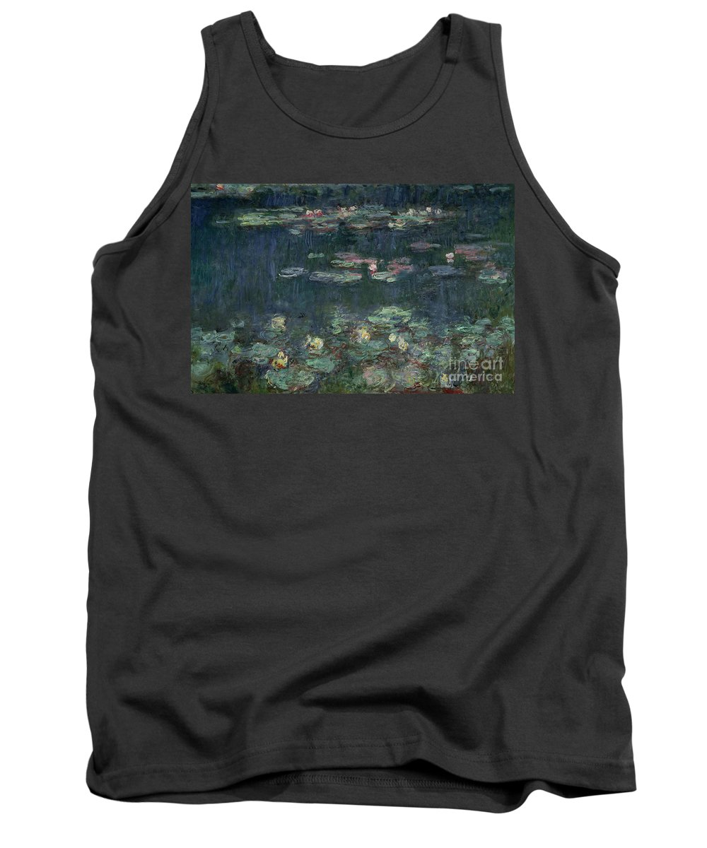 Monet Tank Top featuring the painting Waterlilies Green Reflections by Claude Monet