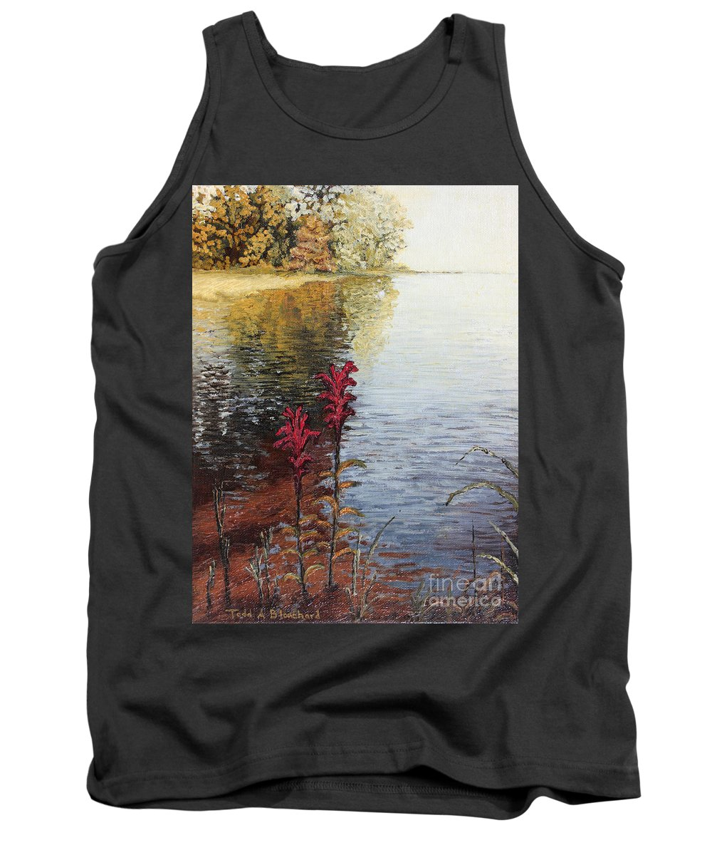 Landscape Tank Top featuring the painting Watts Bar Lake Rockwood Tn by Todd Blanchard