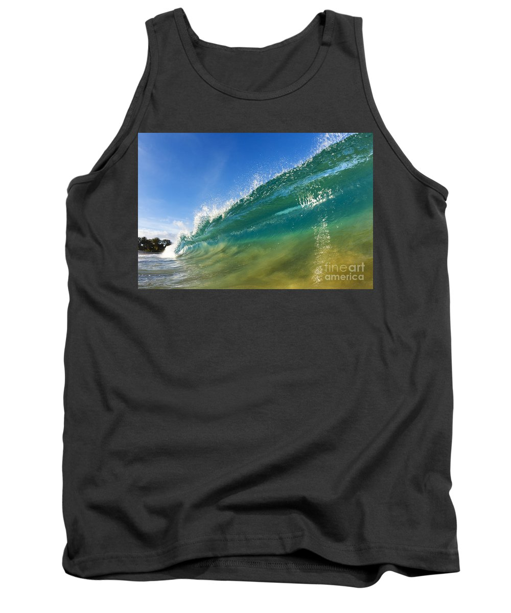 Aqua Tank Top featuring the photograph Wave - Makena Beach by MakenaStockMedia - Printscapes