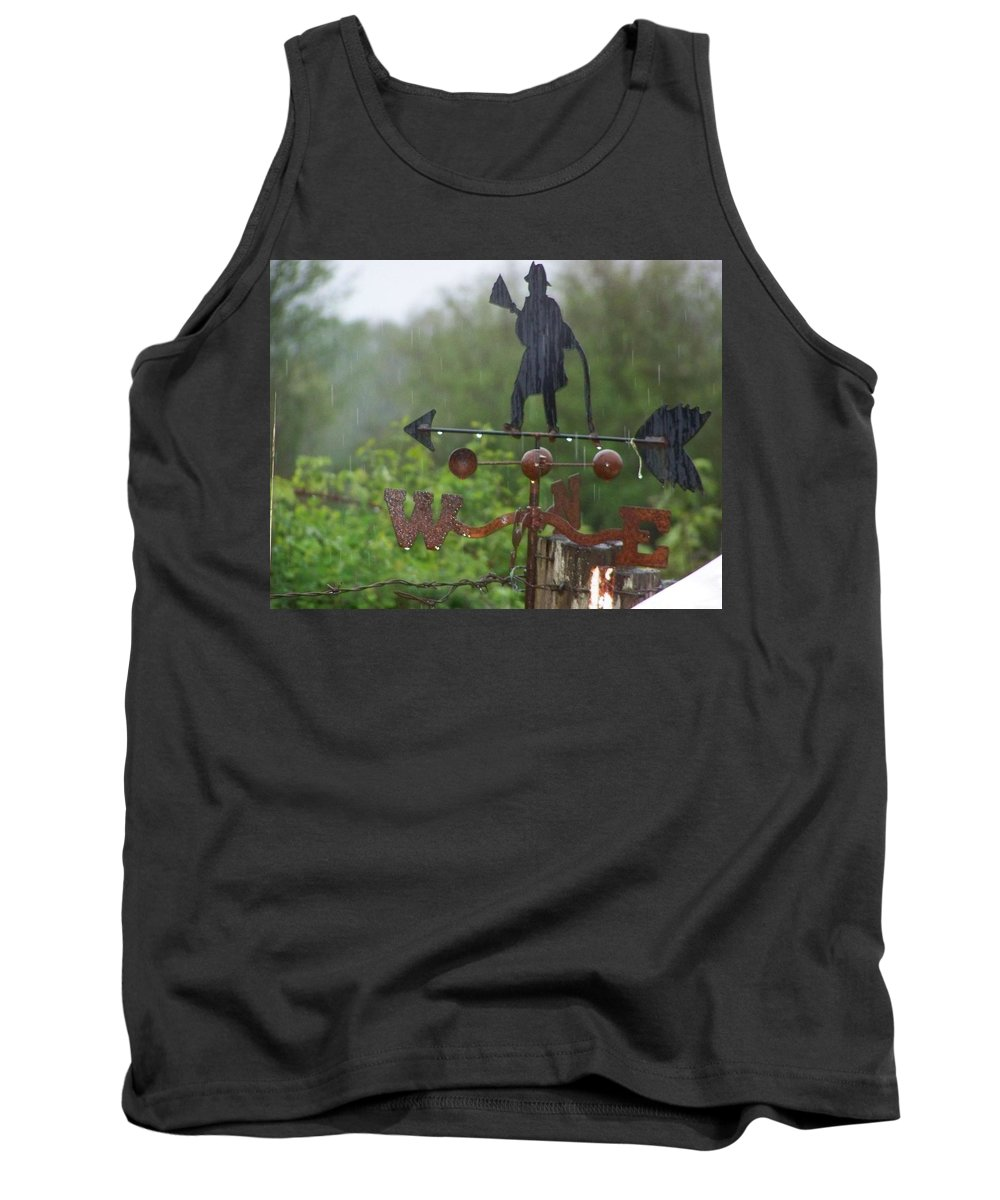 Digital Photography Tank Top featuring the photograph Weather Vane In The Rain by Laurie Kidd