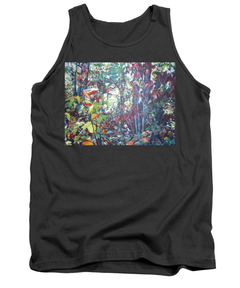 Landscape Tank Top featuring the painting Web Of Color by Sheila Holland