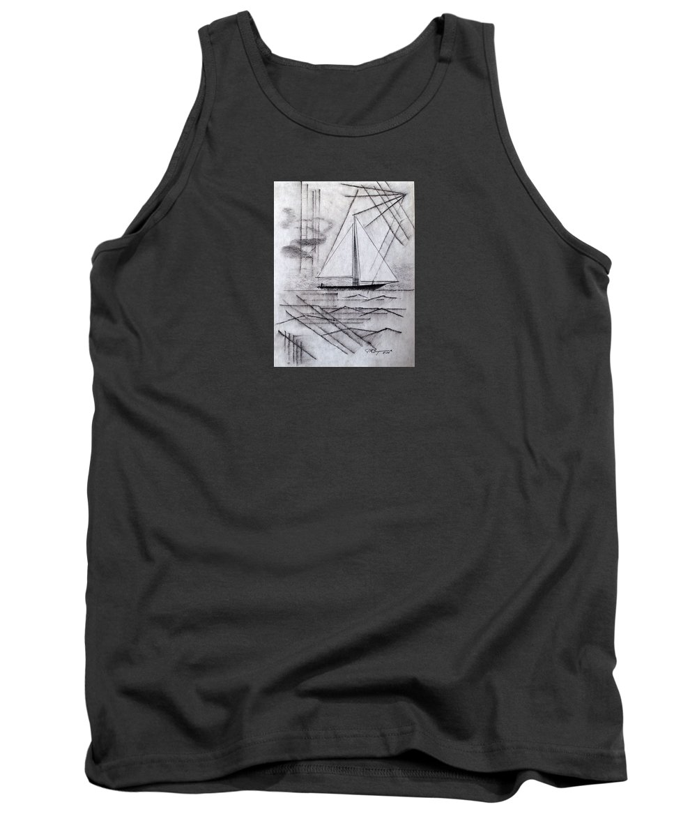 Impressionist Drawing Tank Top featuring the drawing Weekday Escape by J R Seymour