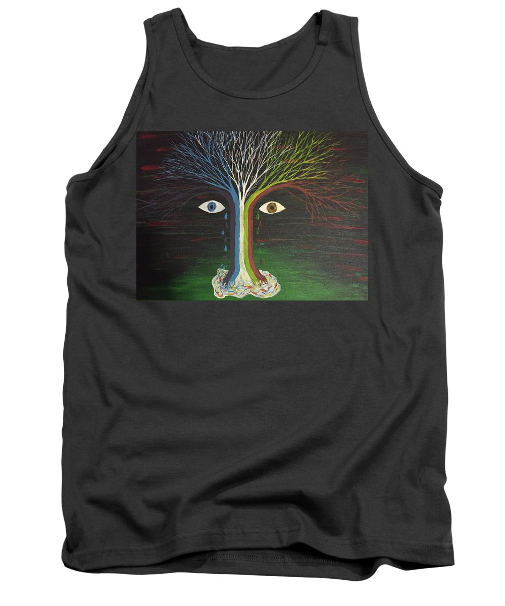 Tree Tank Top featuring the painting Weeping Willow by Gerald Deering