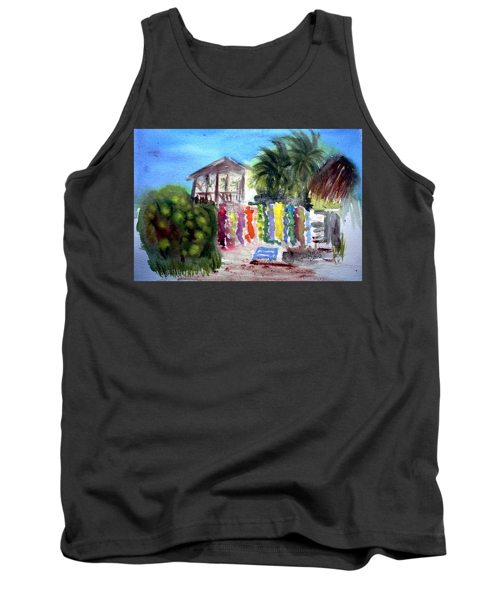 West End Tank Top featuring the painting West End Market by Donna Walsh