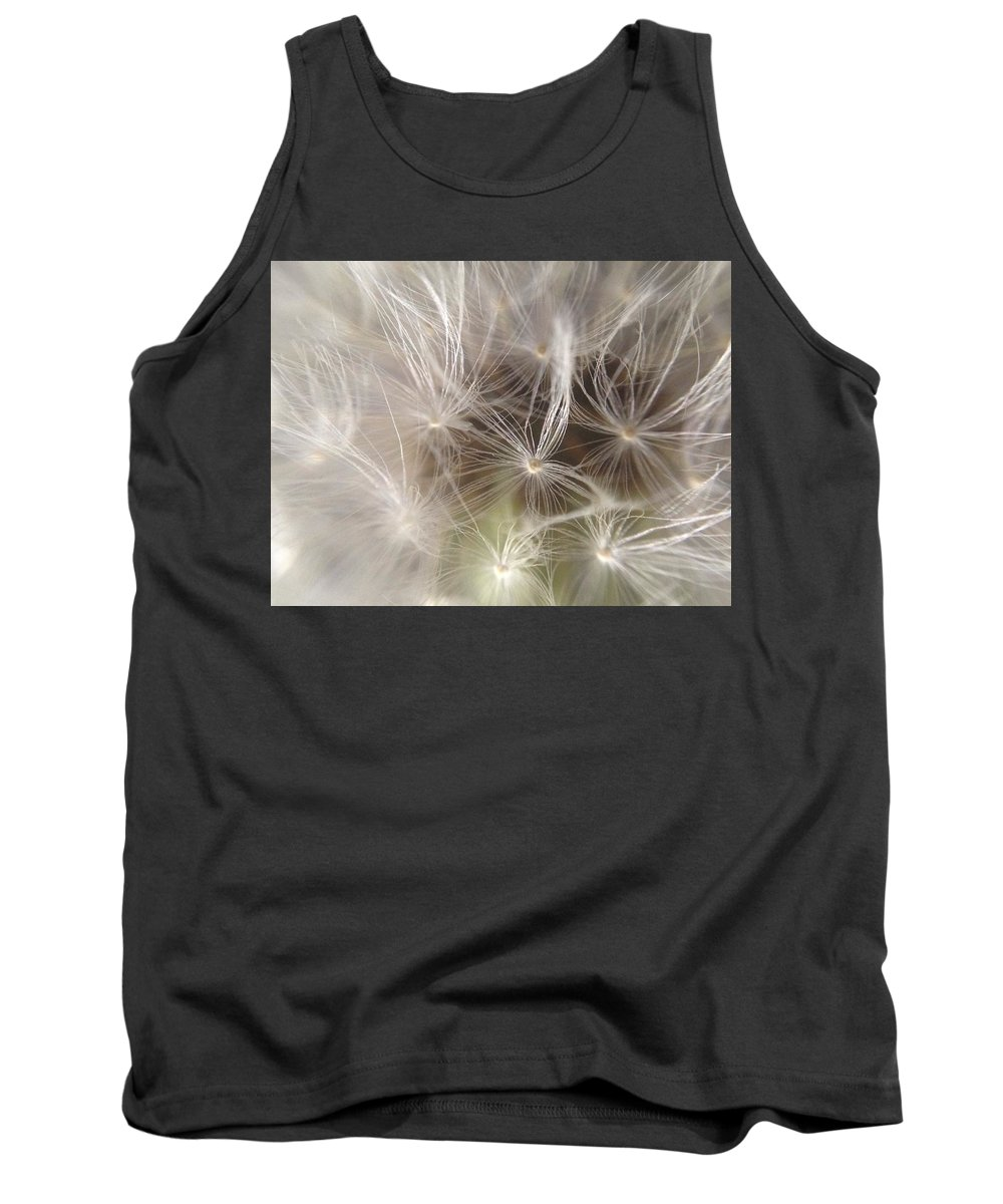 Wolf Time Dandelion White Macro Minimalist Flower Head Sead Tank Top featuring the photograph What's The Time by In Plain Sight