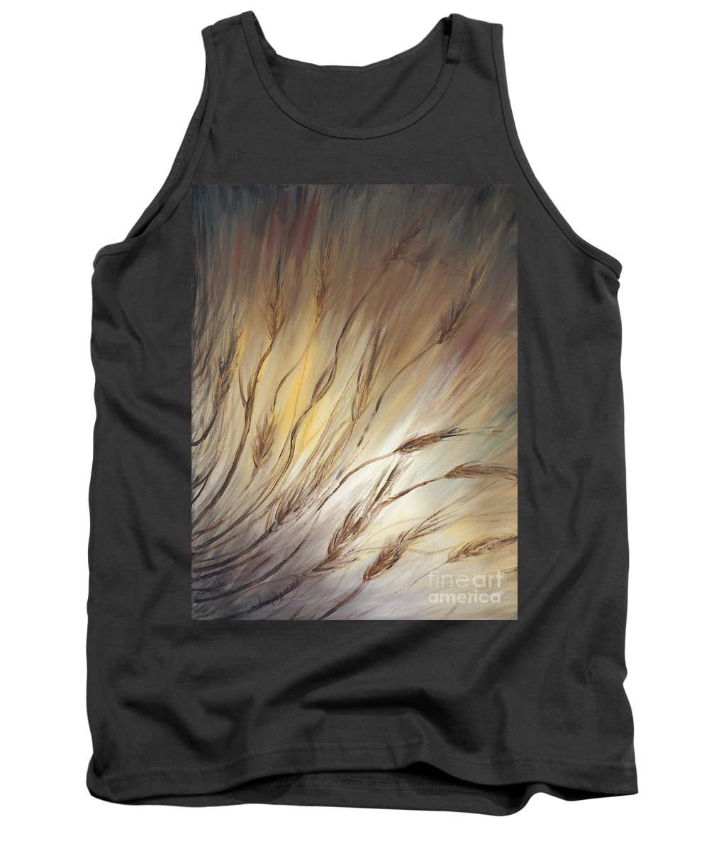 Wheat Tank Top featuring the painting Wheat In The Wind by Nadine Rippelmeyer