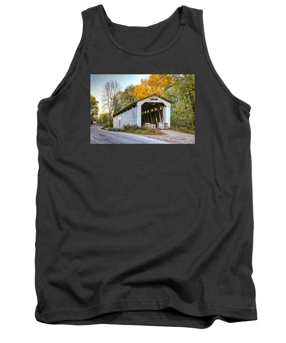 America Tank Top featuring the photograph Wheeling Covered Bridge by Jack R Perry