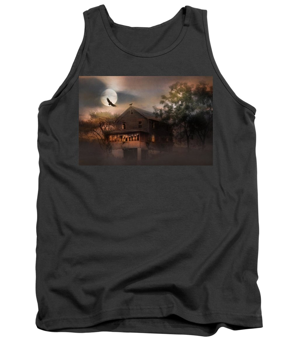 Old Tank Top featuring the photograph When Dead Leaves Fly by Lori Deiter