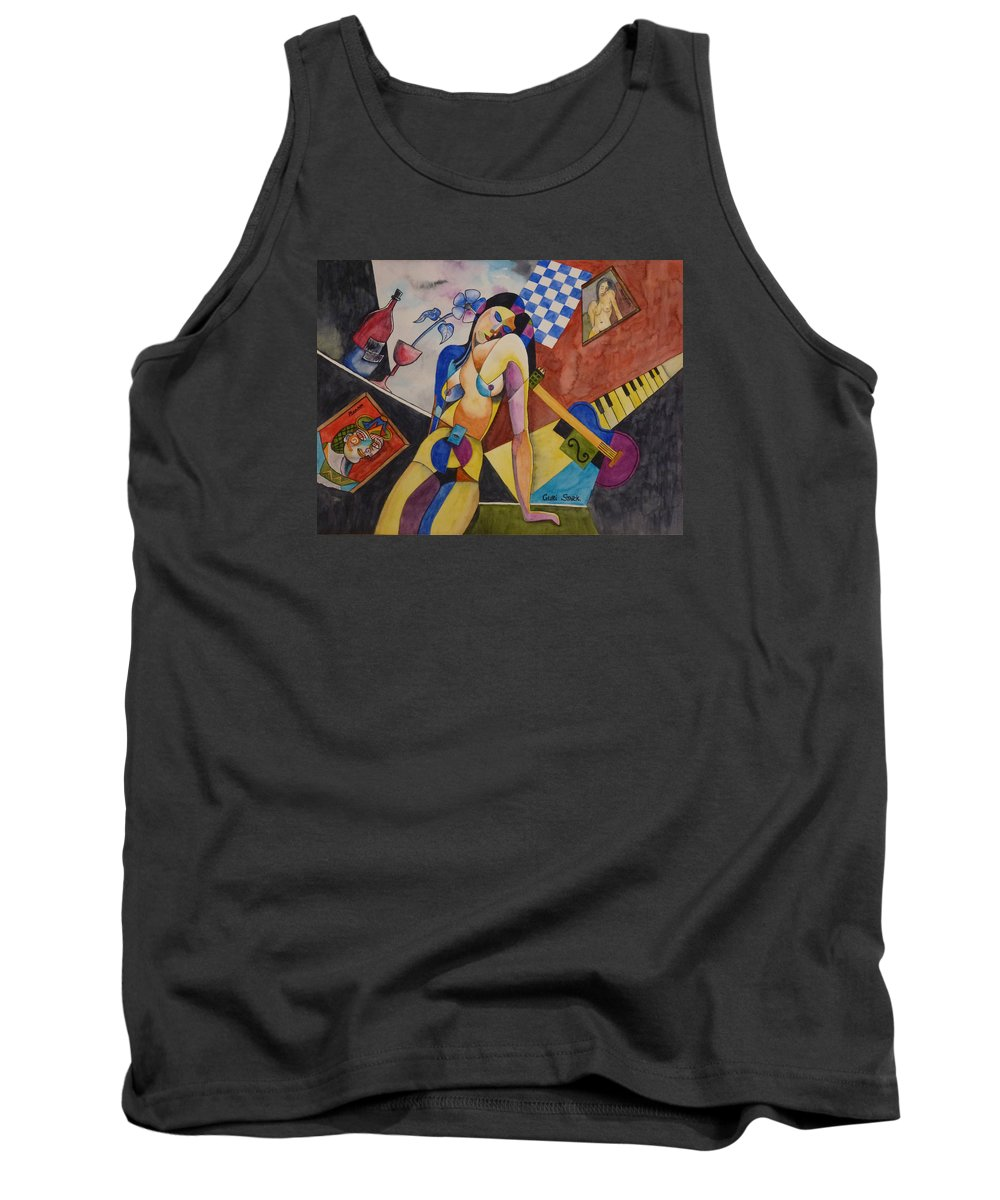 Guri Tank Top featuring the painting When Modigliani Met Picasso by Guri Stark