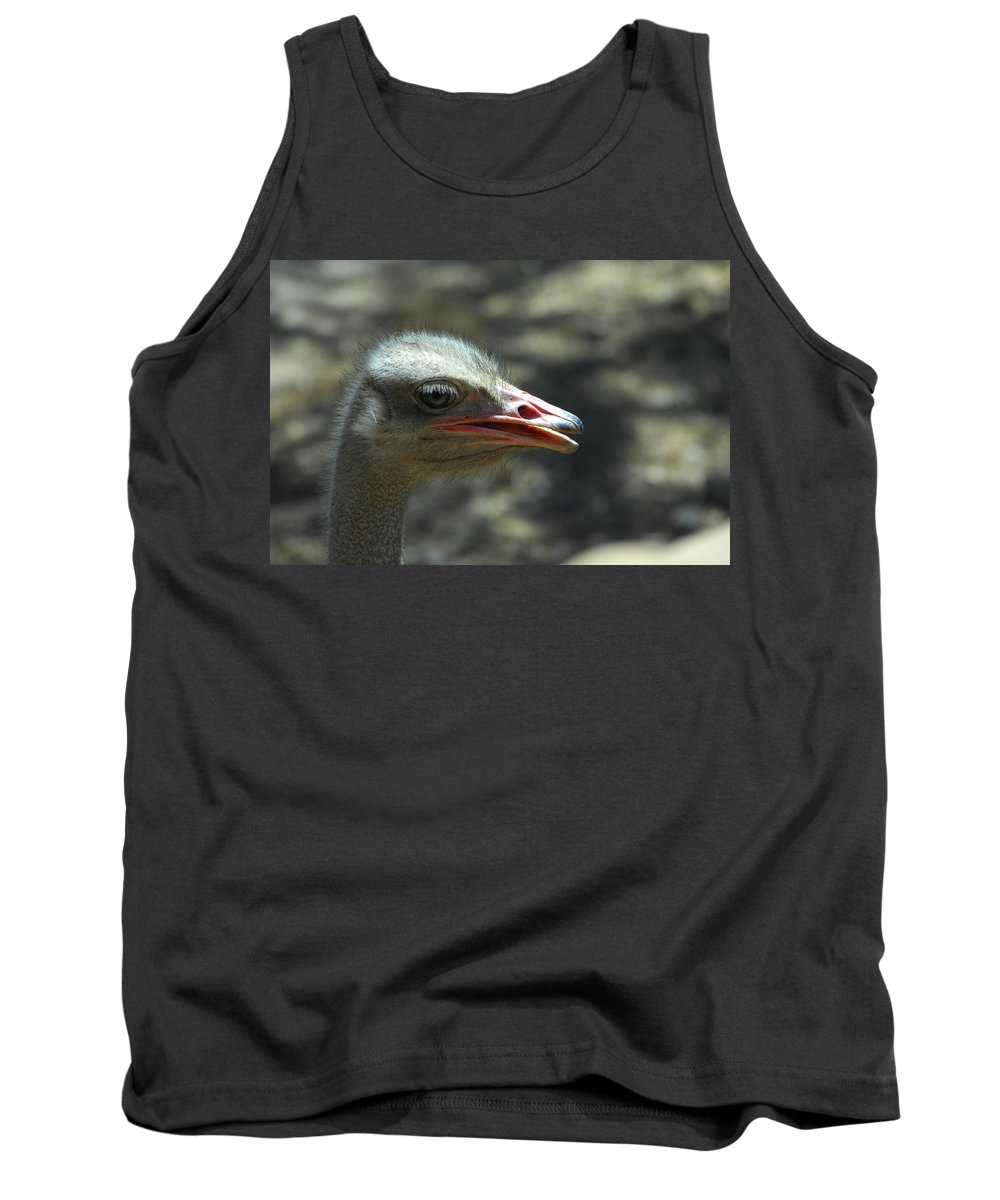 Ostrich Tank Top featuring the photograph Where's The Sand by Donna Blackhall