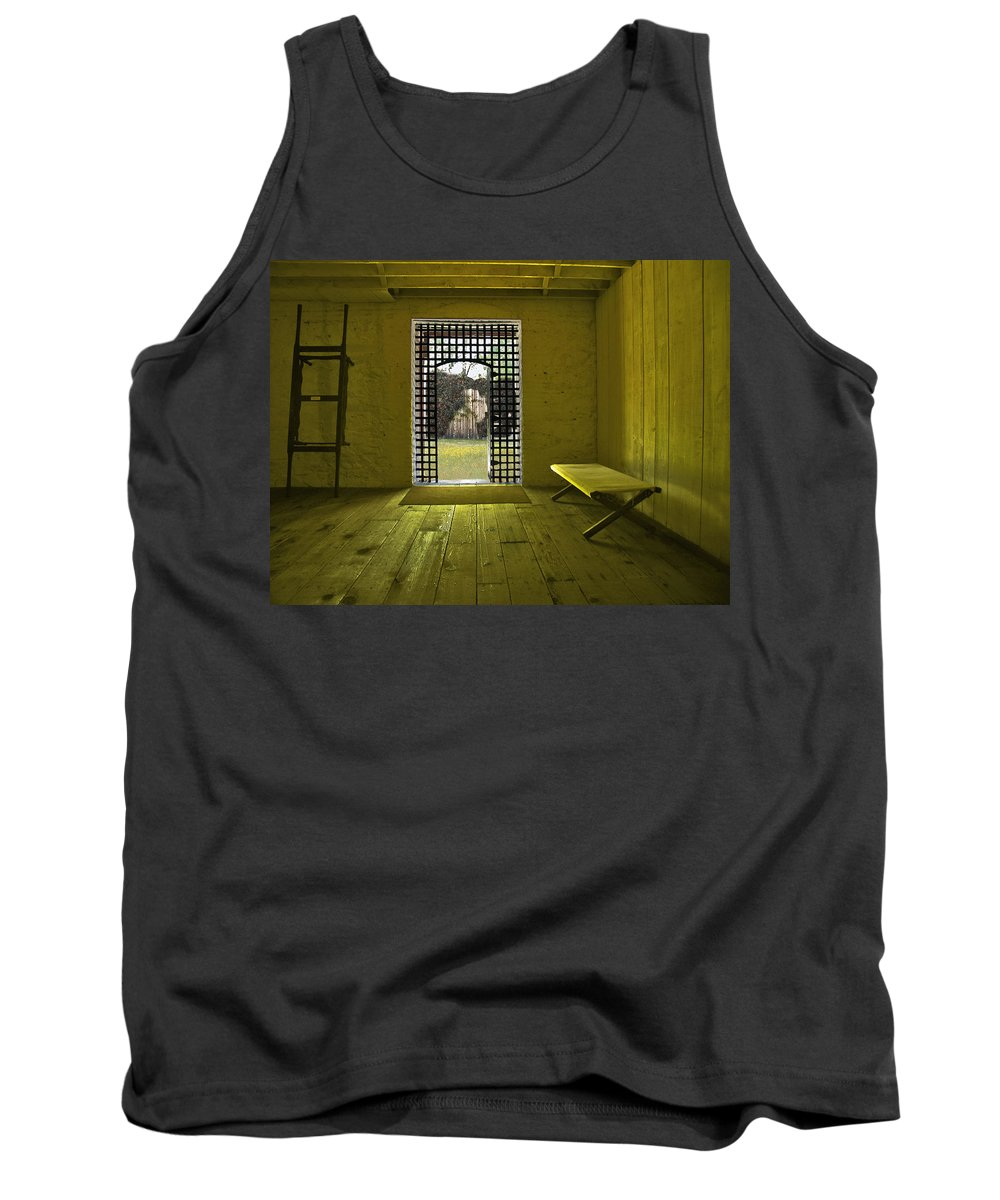 Jail Tank Top featuring the photograph Whiskeytown Jail by Karen W Meyer