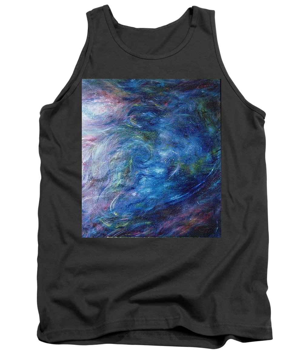Abstract Tank Top featuring the painting Whispers In A Sea Of Blue by Nancy Mueller