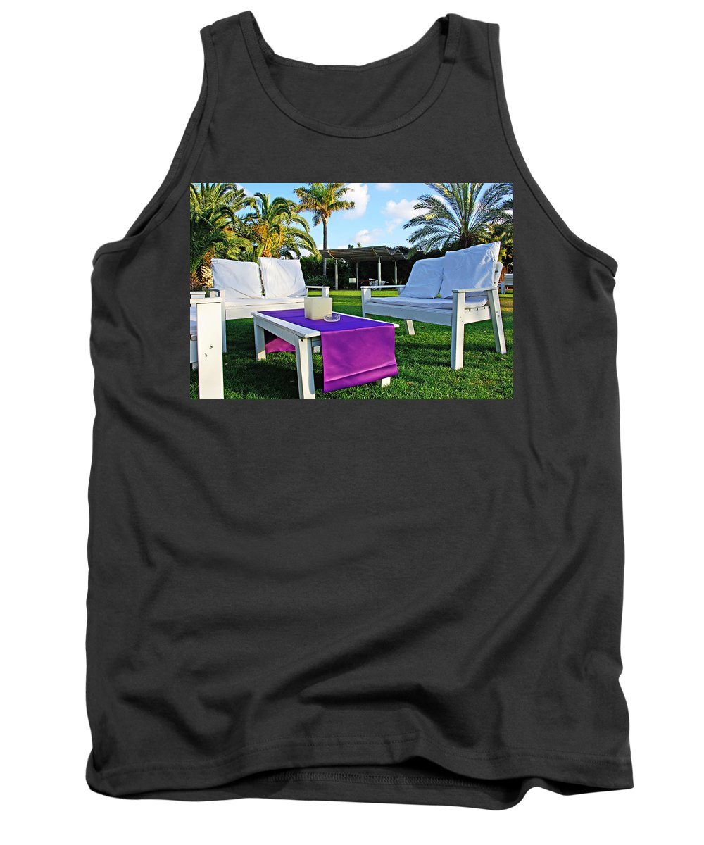 White Tank Top featuring the photograph White And Purple by Zal Latzkovich